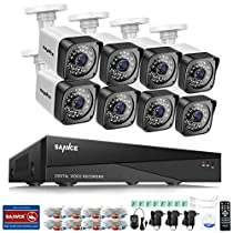 SANNCE 8-Channel HD 1080N Home Security System DVR and (8) 720P Indoor/Outdoor Weatherproof Surveillance Cameras with IR Night Vision LEDs, Remote Access - NO HDD