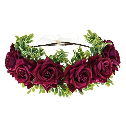 Vividsun Flower Crown Floral Headpiece Festival Wedding Hair Wreath Floral Crown (A/rose purple)