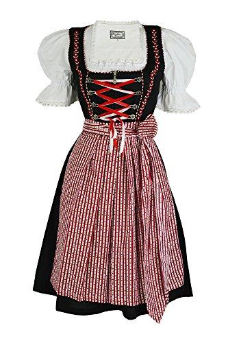 Dirndloutlet 3tlg. Dirndl Tausendschön Schwarz Rot mit Bluse und Schürze, Gr. 38