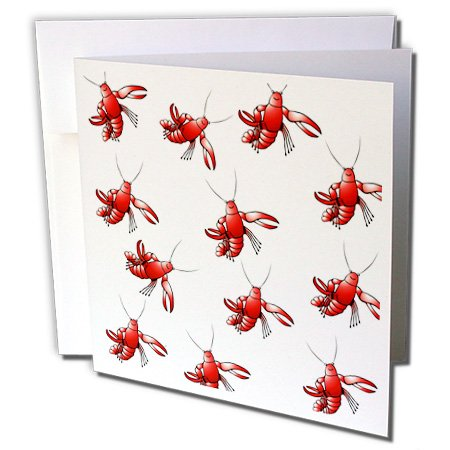 Florene - Décor III - Image of Red Crawfish Repeat Pattern - 1 Greeting Card with envelope (gc_233682_5)