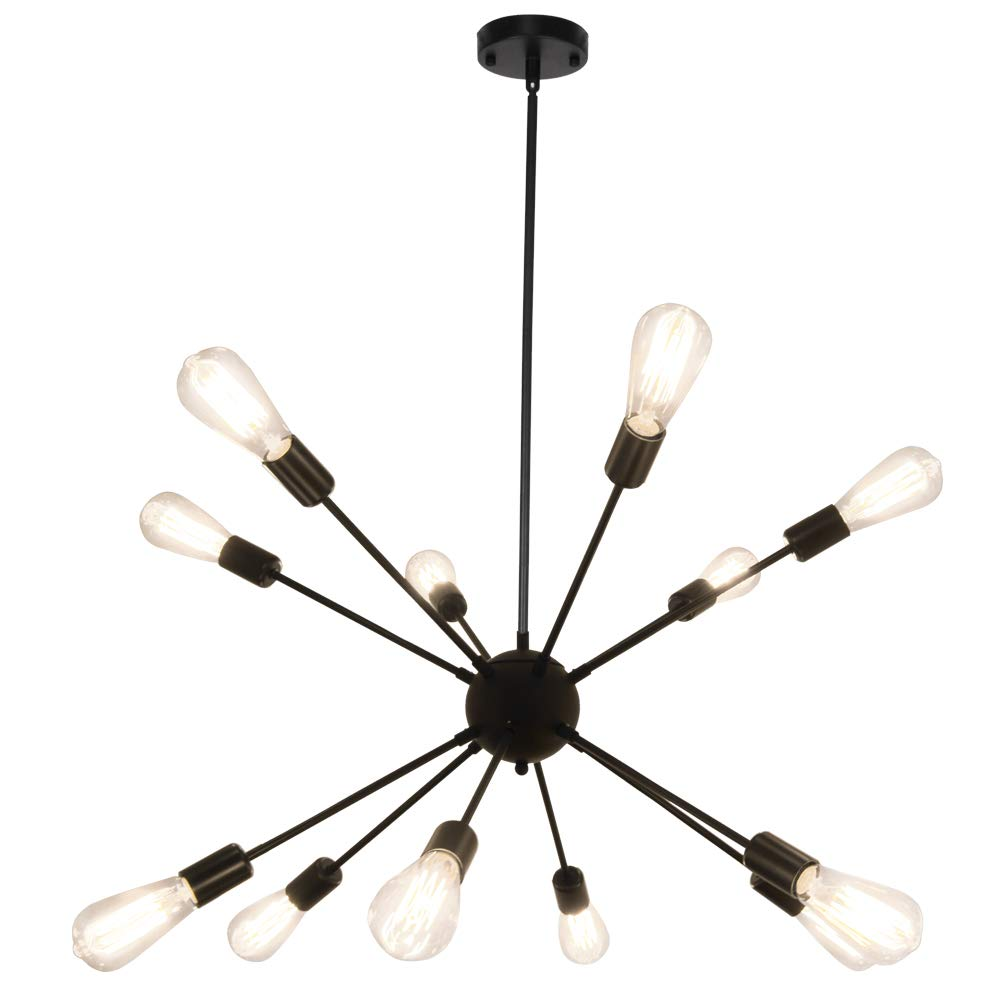 LynPon Sputnik Chandelier 12 Lights Modern Black Ceiling Light Fixture Industrial Vintage Pendant Lighting for Dining Room Kitchen Living Room Bedroom
