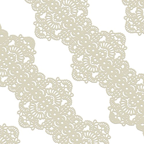Funshowcase Large Pre-Made Ready to Use Edible Cake Lace Art Nouveau Style Applique Ivory White 14-inch 10-piece (Sugar Lace)