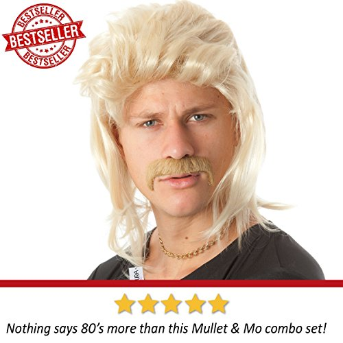 ALLAURA Blonde Mullet Wig Mustache - Hillbilly White Trash Redneck Costume 80s Mens by ALLAURA (Image #1)'