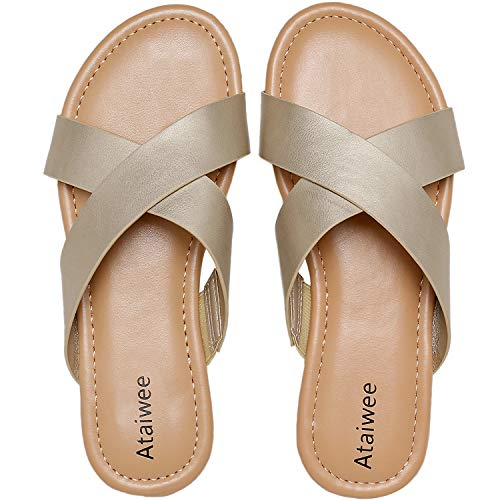 Ataiwee Womens Flat Sandals - Elastic Stretch Cross Ankle Strap Comfortable Gladiator Shoes.