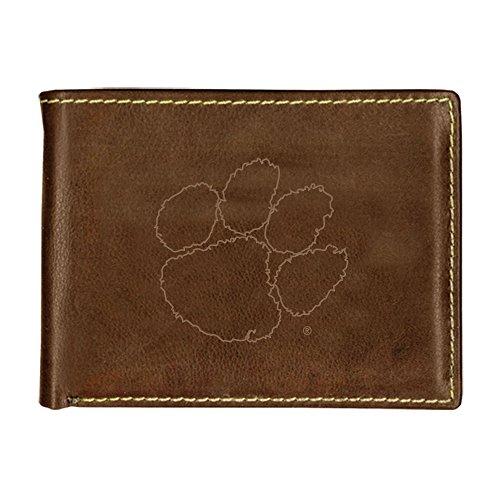 - Clemson University Contrast Stitch Bifold Leather Wallet (Brown)