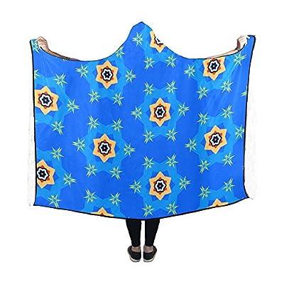 Jnseff Hooded Blanket Pattern Texture Blue Star Blue Texture Blanket 60x50 Inch Comfotable Hooded Throw Wrap