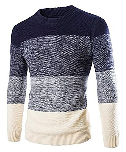Zicac Men's Casual Fashion Pullover Sweater Assorted Color Knitwear (L, Navy)
