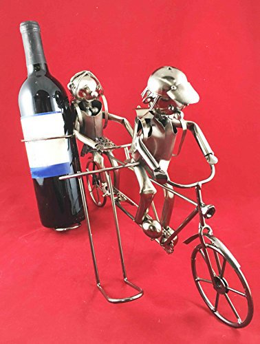 andem Bicycle Hand Made Metal Two Wine Bottle Holder Caddy ()