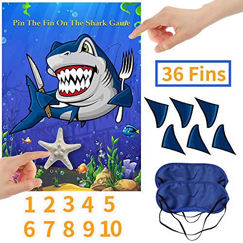 O-Heart Pin The Fin On The Shark Games, Baby Shark Birthday Party Supplies Decorations for Shark Week, 36 Reusable Fins 10 Starfish Age Number and 2 Eye Masks -