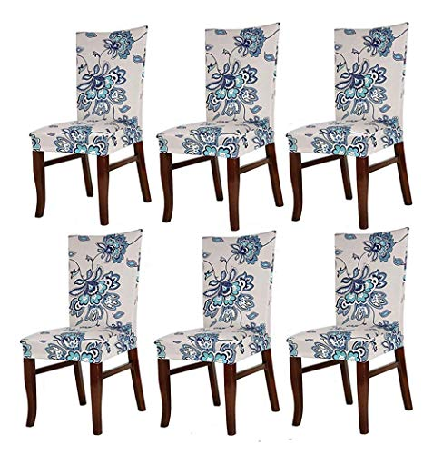 Lihailewo Stretch Chair Seat Cover 2/4/6 PCs Removable Washable Dining Room Stool Chair Decoration Lycra Spandex Slipcovers for Hotel Restaurant Party Dining Room (6, Blueflower)