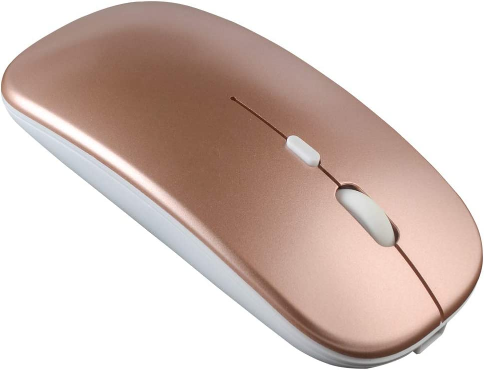 Baaaq Rechargeable Wireless Mouse, Auto Energy-Saving Slim Mouse for Laptop Computer Notebook MacBook Tablet Mac Windows/Android/iOS 13 (Rose Gold)