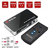 AVBOX 4K x 2K HDMI Switch 3 in 1 Out, 3 Ports High Speed HDMI Switch Box with IR Remote Control,No Power Needed,Support 3D and Full HD 1080P,HDMI 1.4 Compliant