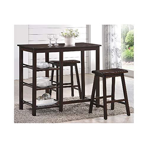 Nyssa Walnut Rubberwood/MDF/Veneer Counter Height 3-Piece Set Eight Table Set Bar Counter Pub Dining Stools Kitchen Stool Furniture Svitlife