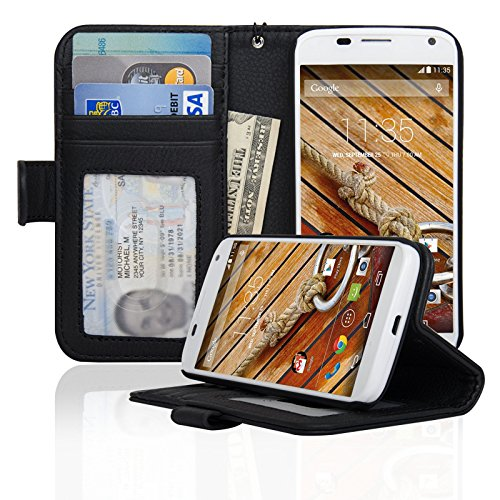 Motorola Moto X (First Generation) Folio PU Leather Wallet Case with Money Pocket - Navor (Black) (Phone X Moto Generation Case 1st)