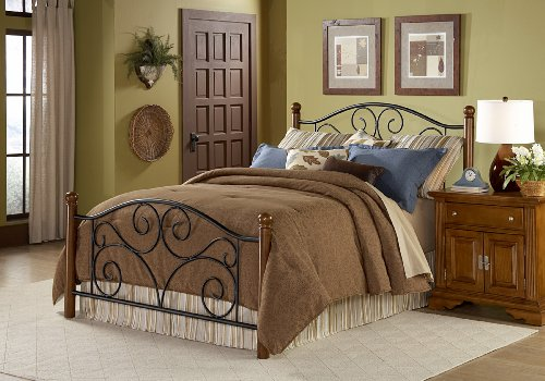 Doral Complete Bed with Metal Duo Panels and Dark Walnut Wood Posts,...