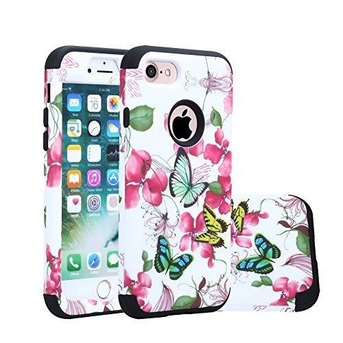 iPhone 8 Case, iPhone 7 Cover, Harsel Floral Flowers Butterflies Hybrid Armor TPU + Plastic Heavy Duty Bumper High Impact Shockproof Durable Case for Apple iPhone 7 / 8 (Butterfly / Black)