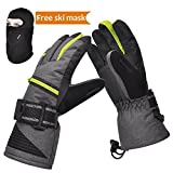 insulated athletic gloves - Ski Gloves, Winter Warm 3M Insulation Waterproof Snow Gloves with Free Breathable Face Mask for Men Skiing, Snowboarding, Motorcycling,Cycling, Outdoor Sports
