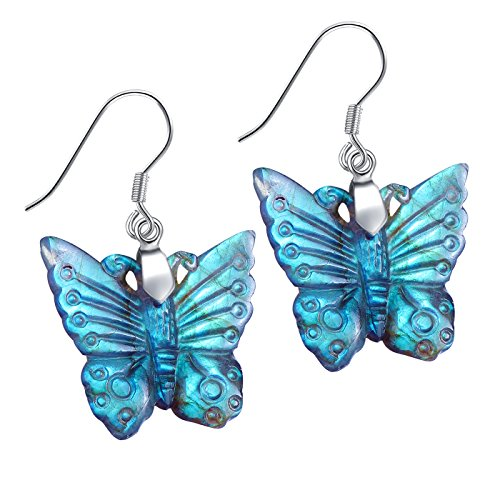 NATURSTON Crystal Carving Drop Dangle Butterfly Earring Natural Labradorite Jewelry For Women Girls (Green)