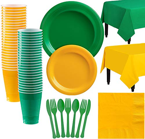 Party City Green and Sunshine Yellow Plastic Tableware Kit for 50 Guests, 537 Pieces, Includes Plates and Table Covers