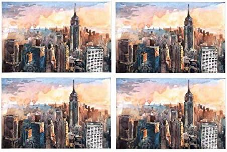 Acuarela Rascacielos de Manhattan al atardecer Ciudad de Nueva ...