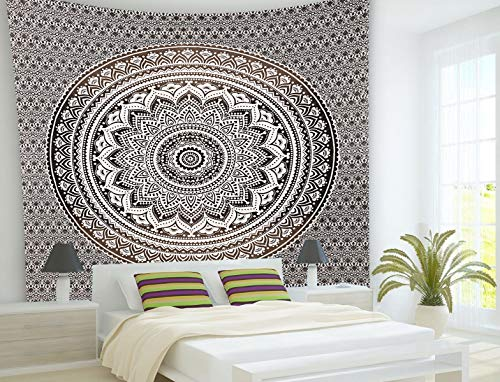 - Grey Tapestry Indian Mandala Wall Tapestry Hanging Mandala Tapestries Ombre Indian Cotton Bedspread Picnic Blanket Twin Tapestry Blanket Throw Wall Blanket Art Hippie Tapestry Boho Wall Decor
