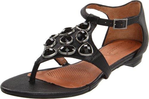 Corso Como Women's Folic T-Strap Sandal,Black Mini Lezard,6 M US