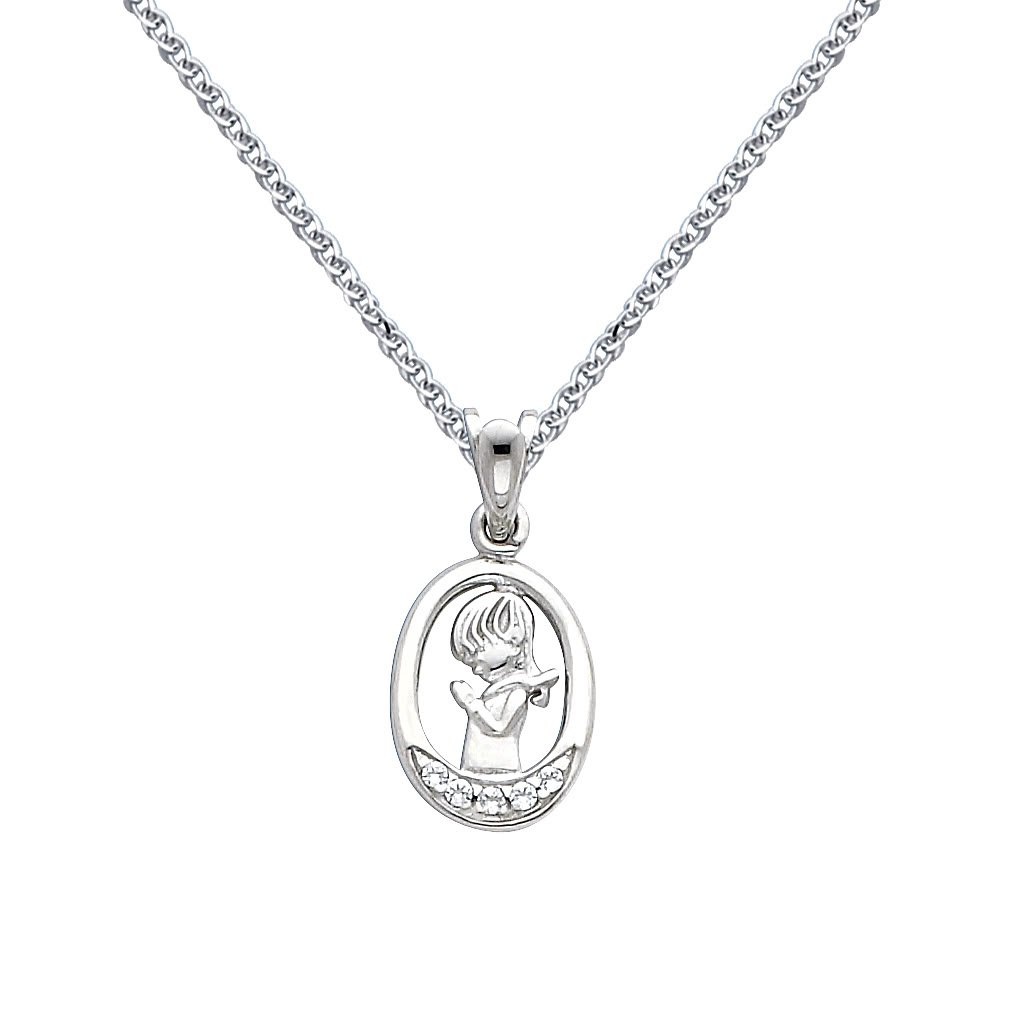 14k White Gold CZ Prayer Pendant with 1.3mm Flat Open Wheat Chain Necklace