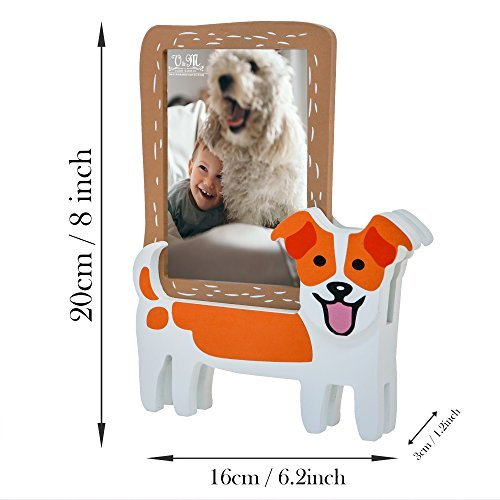V&M VALERY MADELYN Baby Picture Frame Natural Wood 3 x 5 Picture Frames with Doggie Stands(Jack Russell Terrier) by V&M VALERY MADELYN (Image #3)