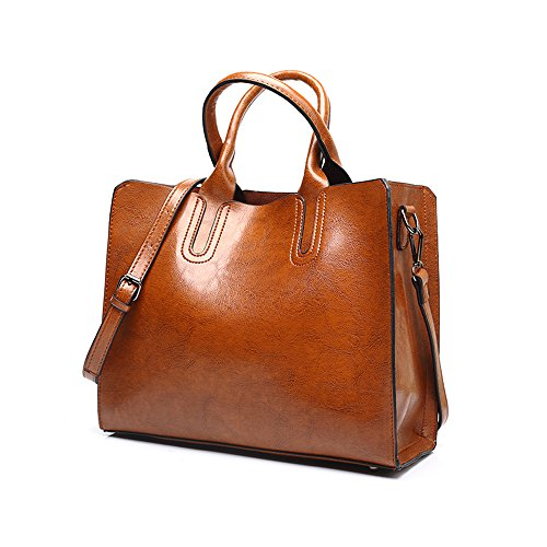 Pu Top Wax Elegant For handle Shoulder Oil Chikencall Work Shopping Bag Handbags Brown Ladies Women Party Leather Handbag Vintage Satchel tzvxRwqE