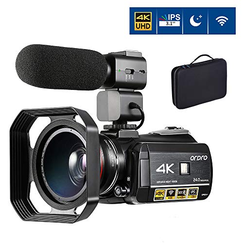 4K Video Camera Camcorder ORDRO 4K Ultra HD Digital WiFi Video Camcorder 1080P 60FPS Recorder IR Night Vision 3.1