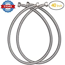 """HOMEIDEAS 40-Inch Faucet Connector Braided Stainless Steel Supply Hose 3/8"""" Compression Female Thread x 1/2"""" I.P. Female Straight Thread Faucet Hose Replacement Pack of 2(1 Pairs)"""