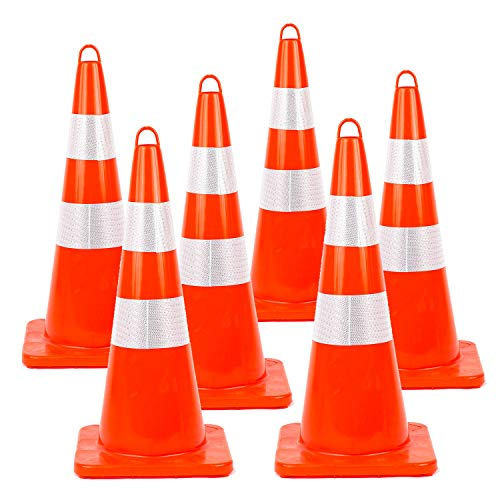 Traffic Safety Cones 28'' inches 6 pcs with Reflective Collars PVC Unbreakable Orange Construction for Traffic Home Parking