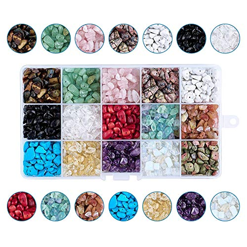 Pandahall 15 Styles Natural & Synthetic Nugget Gemstone Chip Beads 5~8mm Energy Stone for DIY Jewelry Craft Making