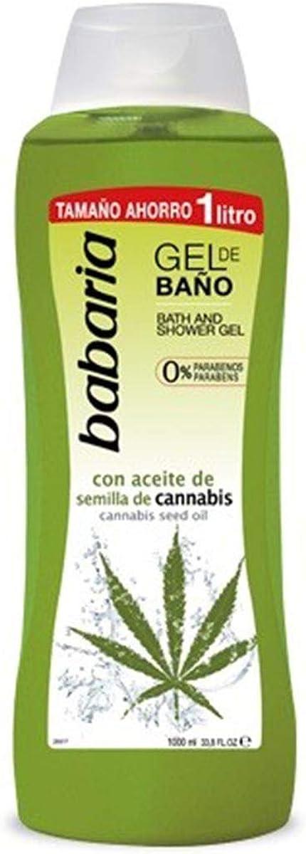 BABARIA SEMILLA DE Cannabis Gel DE BAÑO 1000ML, 1L Unisex Adulto, Negro, Estándar