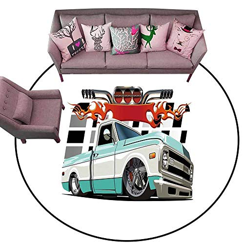 (Bath Mat Set Kitchen Door Truck,Lowrider Pickup with Racing Flag Pattern Background Speeding on The Streets Modified,Multicolor Diameter 78