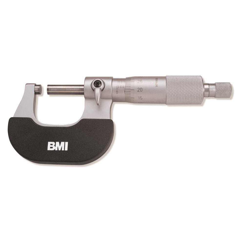 BMI 765000025 External Micrometer 0-25mm/0,01mm, Silver/Black