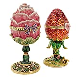 Design Toscano Gardens Treasures Faberge Style Enameled Eggs, Set of 2
