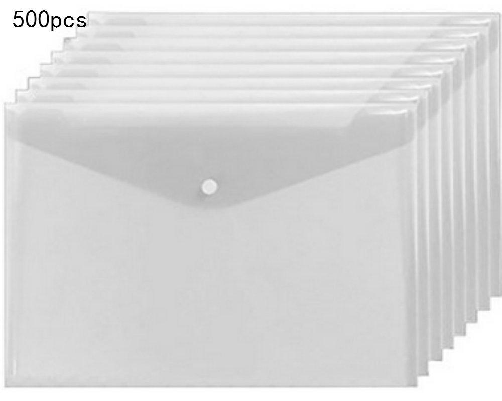 Lu&lu Plastic Envelopes Poly Envelopes - 500 Pack Poly Folders With Snap Button Closure Plastic Folders Premium Quality Document Folder A4 Size