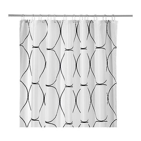 Ikea Uddgrund Tenda Per Doccia Colore Bianco Nero 180 X 180 Cm