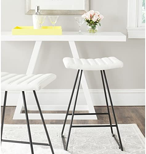 Safavieh Home Collection Akito Mid-Century Modern Grey 26-inch Counter Stool Set of 2