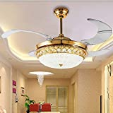 oofay Crystal Ceiling Fan Lights Restaurant Invisible Folding Home Living Room Fan Lights With Remote Control Chandelier Electric Fan Chandelier Gol