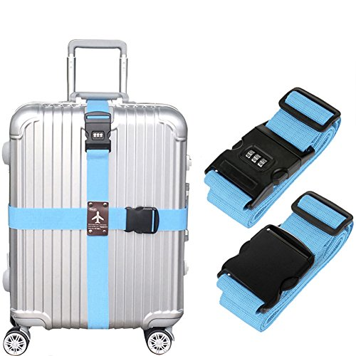 Heavy Duty Detachable Adjustable Long Cross Travel Luggage Strap Packing Belts Suitcase Bag Security Straps with 3-Dial Combination Lock, Sky Blue -