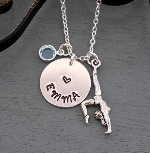 Girls Gymnast Necklace - Personalized Gymnast Necklace - Name Necklace - Gymnast Jewelry - Silver - Girls Gymnast Necklace - Gymnast Name Necklace - Custom - Pearl - Birthstone - Gymnastics Gifts