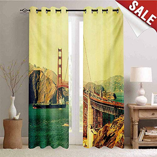Hengshu Vintage Waterproof Window Curtain Old Film Featured Golden Gate Bridge Suspension Urban Path Construction Scenery Decorative Curtains for Living Room W84 x L108 Inch Blue Brown ()
