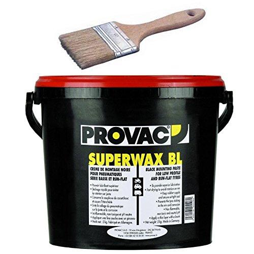 Provac - Pack Crè me De Montage Pneu 5kg Noir + Pinceau 40mm Auto Moto Vé lo Quad