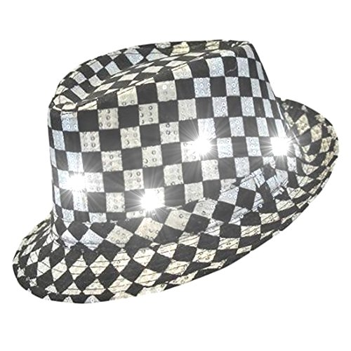 Black And White Checkered Hat (blinkee LED Flashing Fedora Hat with Checkered Sequins)
