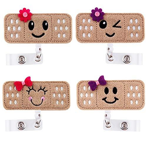 (Retractable Badge Holder - ID Badge Holder Reel Clip Name Badge Holder for Nurse, Alligator Clip RN Badge for Women (4 Pack))