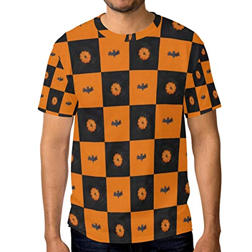 Lovexue Black Bat Orange Pumpkin Lattic T Shirts for Men Top Tee Crew Neck Active ()