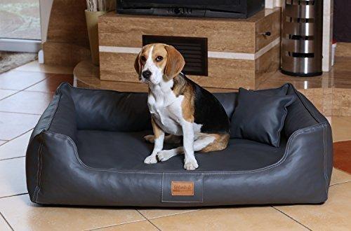 tierlando® Orthopädisches Hundebett Maddox ORTHO VISCO in Kunstleder Hundesofa Hundekorb Gr. XL 120 cm GRAPHIT