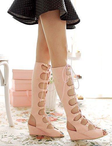 Almond Heel Beige almond Wedges ShangYi Heels Outdoor Toe M608 Dress Casual Pink Women's Shoes Heels Peep Sandals Black gZgf6Un